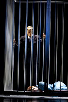 FAUST   by Gounod   conductor: Edward Gardner   set design: Robert Brill   costumes: Paul Tazewell   lighting: Peter Mumford   director: Des McAnuff   Act V - Faust visits imprisoned Marguerite: Melo...