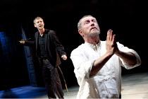 HAMLET   by Shakespeare   design: Tom Scutt   lighting: Oliver Fenwick   director: Paul Miller   l-r: John Simm (Hamlet), John Nettles (Claudius)  Crucible Theatre / Sheffield, England             2...