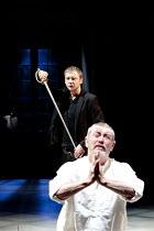 HAMLET   by Shakespeare   design: Tom Scutt   lighting: Oliver Fenwick   director: Paul Miller   rear: John Simm (Hamlet)   front: John Nettles (Claudius)  Crucible Theatre / Sheffield, England...