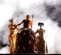 NIOBE   by Agostino Steffani   conductor: Thomas Hengelbrock   set & lighting: Raimund Bauer   costumes: Andrea Schmidt-Futterer   director: Lukas Hemleb ~l-r: Alastair Miles (Poliferno), Veronique Ge...