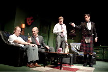 THE BIG FELLAH   by Richard Bean   design: Tim Shortall   lighting: Jason Taylor   director: Max Stafford-Clark ~l-r: Fred Ridgeway (Frank McArdle), Finbar Lynch (David Costello), Rory Keenan (Ruairi...
