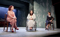 BROKEN GLASS   by Arthur Miller   design: Mike Britton   lighting: Matthew Eagland   director: Iqbal Khan ~l-r: Madeleine Potter (Margaret Hyman), Lucy Cohu (Sylvia Gellburg), Emily Bruni (Harriet)~Tr...