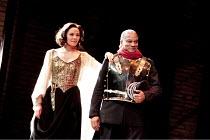 ANTONY AND CLEOPATRA   by Shakespeare   design: Peter Mckintosh   lighting: Paul Pyant   director: Janet Suzman  ~Kim Cattrall (Cleopatra), Jeffery Kissoon (Mark Antony)~Liverpool Playhouse, Liverpool...