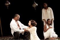 ANTONY AND CLEOPATRA   by Shakespeare   design: Peter Mckintosh   lighting: Paul Pyant   director: Janet Suzman  ~l-r: Jeffery Kissoon (Mark Antony), Kim Cattrall (Cleopatra), (standing) Aicha Kossoko...