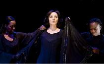 ANTONY AND CLEOPATRA   by Shakespeare   design: Peter Mckintosh   lighting: Paul Pyant   director: Janet Suzman  ~final scene, preparing for death - l-r: Gracy Goldman (Iras), Kim Cattrall (Cleopatra)...