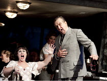 LA BOHEME   by Puccini   conductor: Stephen Lord   design: Isabella Bywater   lighting: Jean Kalman   director: Jonathan Miller   Act II - Cafe Momus : Mairead Buicke (Musetta), Richard Angas (Alcind...
