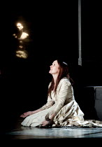 THE DUCHESS OF MALFI  by John Webster  design: Ruth Sutcliffe  lighting: Philip Gladwell  director: Laurie Sansom   Charlotte Emmerson (The Duchess of Malfi) with (rear) the body of Ferdinand Theatr...