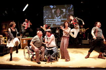 REASONS TO BE CHEERFUL   script: Paul Sirett   music: Ian Dury   design: Gaelle Mellis   lighting: Ian Scott   director: Jenny Sealey   front, l-r: Nadia Albina (Janine), Garry Robson (Bobby), John K...
