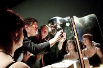 THERE WILL BE MORE   by Edward Bond   design: Julia Berndt   lighting: Steve Lowe   director: Adam Spreadbury-Maher   Stephen Billington (Johnson), Helen Bang (Dea)  Cock Tavern Theatre, London NW6...