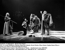 HAMLET  by Shakespeare  design: Maria Bjornson lighting: Chris Ellis fights director: Malcolm Ranson director: Ron Daniels <br> II/ii - l-r: Frank Middlemass (Polonius), Roger Rees (Hamlet), Dexter F...