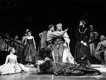 HAMLET  by Shakespeare  design: Maria Bjornson lighting: Chris Ellis fights director: Malcolm Ranson director: Ron Daniels <br> l-r: Frances Barber (Ophelia), Dexter Fletcher (Player Queen), Roger Re...