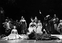 HAMLET  by Shakespeare  design: Maria Bjornson lighting: Chris Ellis fights director: Malcolm Ranson director: Ron Daniels <br> l-r: Roger Rees (Hamlet), Frances Barber (Ophelia), Dexter Fletcher (Pl...