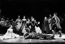 HAMLET  by Shakespeare  design: Maria Bjornson lighting: Chris Ellis fights director: Malcolm Ranson director: Ron Daniels <br> l-r: Frances Barber (Ophelia), Dexter Fletcher (Player Queen), (rear) B...