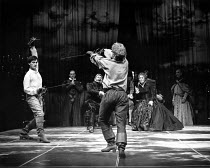 HAMLET  by Shakespeare  design: Maria Bjornson lighting: Chris Ellis fights director: Malcolm Ranson director: Ron Daniels <br> l-r: Roger Rees (Hamlet), Nicholas Farrell (Horatio), Brian Blessed (Cl...