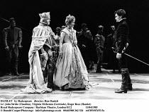 HAMLET  by Shakespeare  design: Maria Bjornson lighting: Chris Ellis fights director: Malcolm Ranson director: Ron Daniels <br> l-r: John Stride (Claudius), Virginia McKenna (Gertrude), Roger Rees (H...