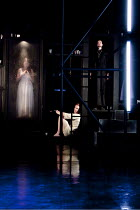 THE DUCHESS OF MALFI  by John Webster  design: Ruth Sutcliffe  lighting: Philip Gladwell  director: Laurie Sansom ~l-r: Charlotte Emmerson (The Duchess of Malfi), Luke Neal (Ferdinand, Duke of Calabri...
