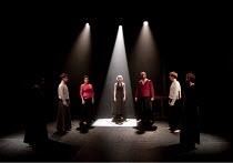 MACBETH   by Shakespeare   director: Grzegorz Bral ~in red: Anna Zubrzycki (Lady Macbeth), Gabriel Gawin (Macbeth)    ~Song of the Goat Theatre (Poland) / bite10 / The Pit / Barbican Centre, London EC...