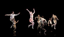 AWAKENINGS   choreography: Aletta Collins   music: Tobias Picker   design: Miriam Buether   lighting: Yaron Abulafia   leaping left: Thomasin Gulgec   centre: Gemma Nixon Rambert Dance Company / Sad...