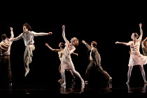AWAKENINGS   choreography: Aletta Collins   music: Tobias Picker   design: Miriam Buether   lighting: Yaron Abulafia   leaping left: Thomasin Gulgec   centre: Angela Towler  Rambert Dance Company /...