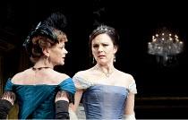 AN IDEAL HUSBAND   by Oscar Wilde   design: Stephen Brimson Lewis   lighting: Peter Mumford   director: Lindsay Posner ~~l-r: Samantha Bond (Mrs Cheveley), Rachael Stirling (Lady Chiltern) ~Vaudeville...