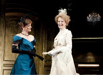 AN IDEAL HUSBAND   by Oscar Wilde   design: Stephen Brimson Lewis   lighting: Peter Mumford   director: Lindsay Posner ~~l-r: Samantha Bond (Mrs Cheveley), Caroline Blakiston (Lady Markby) ~Vaudeville...