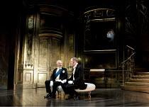 AN IDEAL HUSBAND   by Oscar Wilde   design: Stephen Brimson Lewis   lighting: Peter Mumford   director: Lindsay Posner ~~l-r: Charles Kay (The Earl of Caversham, K.G.), Elliot Cowan (Viscount Goring)...