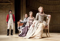 THE RIVALS   by Sheridan   set design: Simon Higlett   costumes: Christopher Woods   lighting: Jason Taylor   director: Peter Hall ~l-r: Tam Williams (Captain Jack Absolute), Peter Bowles (Sir Anthony...