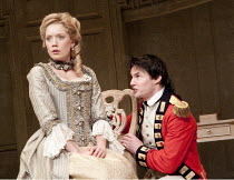 THE RIVALS   by Sheridan   set design: Simon Higlett   costumes: Christopher Woods   lighting: Jason Taylor   director: Peter Hall ~Robyn Addison (Lydia Languish), Tam Williams (Captain Jack Absolute)...