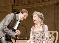THE RIVALS   by Sheridan   set design: Simon Higlett   costumes: Christopher Woods   lighting: Jason Taylor   director: Peter Hall ~Peter Bowles (Sir Anthony Absolute), Penelope Keith (Mrs Malaprop)~T...