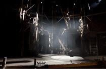 THE THREE MUSKETEERS   music: George Stiles   lyrics: Paul Leigh   book: Peter Raby & Francis Matthews   after Dumas   director: Francis Matthews ~stage   empty   set   smoke~Rose of Kingston / Surrey...