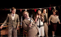 DECLINE AND FALL   by Evelyn Waugh   design: Richard Kent   lighting: Edmund Sutton   director: Tom King   l-r: Michael Lindall (Paul Pennyfeather), Sylvester McCoy (Captain Grimes), Fay Downie (Mrs...