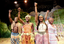 ANANSI   written & directed by Lisa Cagnacci   composer: Timon Wapanaar   design: Mike Lees   lighting: Rachel Walsh ~l-r: Toussaint Meghie, Anniwaa Buachie (Anansi), Vanessa Sampson, Lynette Clarke (...