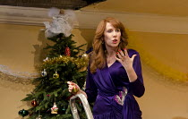 SEASON'S GREETINGS   by Alan Ayckbourn   design: Rae Smith   lighting: Bruno Poet   director: Marianne Elliott ~Catherine Tate (Belinda) ~Lyttelton Theatre / National Theatre (NT), London SE1    08/12...