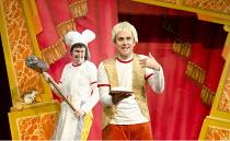 POTTED PANTO   written & performed by Daniel Clarkson & Jefferson Turner   set design: Simon Scullion   costumes: Helen Stewart   lighting: Robin Fisher   director: Richard Hurst ~'Jack and the Beanst...