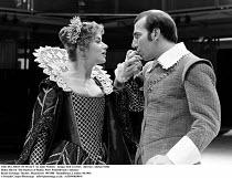 THE DUCHESS OF MALFI   by John Webster   design: Bob Crowley   director: Adrian Noble ~~Helen Mirren (The Duchess of Malfi), Peter Postlethwaite (Antonio)~Royal Exchange Theatre, Manchester  09/1980...