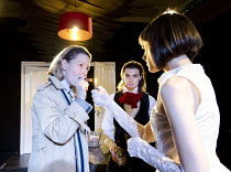 A DOLL'S HOUSE   by Ibsen   adapted by Sophie Reynolds   director: Frances Loy ~l-r: Melissa Woodbridge (Dr Rank), Margaret-Ann Bain (Torvald Helmer), Polly Eachus (Nora Helmer)~TheatreDelicatessen ,...