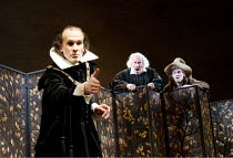 TWELFTH NIGHT   by Shakespeare   design: Anthony Ward   lighting: Peter Mumford   director: Peter Hall ~l-r: Simon Paisley Day (Malvolio), Simon Callow (Sir Toby Belch), Samuel James (Fabian) ~Cottesl...