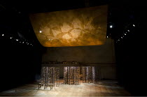 TWELFTH NIGHT   by Shakespeare   design: Anthony Ward   lighting: Peter Mumford   director: Peter Hall ~stage   empty   set   props   screen~Cottesloe Theatre / National Theatre (NT), London SE1  18/0...