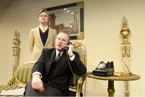 LESS THAN KIND   by Terence Rattigan   design: Suzi Lombardelli   lighting: Justin Emrys-Smith   director: Adrian Brown ~l-r: David Osmond (Michael Brown), Michael Simkins (Sir John Fletcher) ~Jermyn...