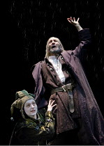 KING LEAR   by Shakespeare   design: Jon Bausor   lighting: Jon Clark   director: David Farr ~Storm scene - III/ii: Sophie Russell (Fool), Greg Hicks (King Lear)~Royal Shakespeare Company (RSC) / Roun...