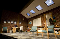 THE HERETIC   by Richard Bean   design: Peter McKintosh   lighting: Paul Pyant   director: Jeremy Herrin ~stage   empty   set~Jerwood Theatre Downstairs / Royal Court Theatre (RC), London SW1   10/02/...