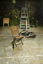 SNAKE IN THE GRASS   by Alan Ayckbourn   design: William Dudley   lighting: Richard Howell   director: Lucy Bailey ~stage   set   tennis   net   props~The Print Room, London W2...