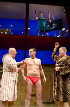 PENELOPE   by Enda Walsh   after Homer's 'The Odyssey'   design: Sabine Dargent   lighting: Paul Keogan   director: Mikel Murfi   l-r: Niall Buggy (Fitz), Karl Shiels (Quinn), Denis Conway (Dunne) wi...