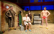 PENELOPE   by Enda Walsh   after Homer's 'The Odyssey'   design: Sabine Dargent   lighting: Paul Keogan   director: Mikel Murfi   l-r: Denis Conway (Dunne), Niall Buggy (Fitz), Aaron Monaghan (Burns)...