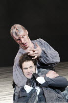 FRANKENSTEIN   by Nick Dear   based on the novel by Mary Shelley   set design: Mark Tildesley   costumes: Suttirat Anne Larlarb   lighting: Bruno Poet   director: Danny Boyle ~l-r: Jonny Lee Miller (V...