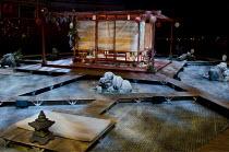 MADAM BUTTERFLY   by Puccini   conductor: Oliver Gooch   design: David Roger   lighting: Andrew Bridge   director: David Freeman ~set   water   house   lanterns   Japan   Japanese~Royal Albert Hall, L...