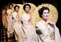 MADAM BUTTERFLY   by Puccini   conductor: Oliver Gooch   design: David Roger   lighting: Andrew Bridge   director: David Freeman ~entrance of Butterfly's friends~Royal Albert Hall, London SW7...