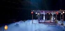 MADAM BUTTERFLY   by Puccini   conductor: Oliver Gooch   design: David Roger   lighting: Andrew Bridge   director: David Freeman ~set   mist   house   lanterns   Japan   Japanese~Royal Albert Hall, Lo...