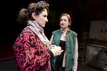 FEN   by Caryl Churchill   design: James Button   lighting: David W Kidd   director: Ria Parry ~l-r: Elicia Daly (Becky), Nicola Harrison (Angela)~Finborough Theatre, London SW10                03/03/...