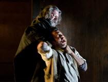IL TABARRO   by Puccini   conductor: Michael Rosewell   design: Neil Irish   lighting: Guy Hoare   director: James Conway ~Michele strangles Luigi: Simon Thorpe (Michele), Charne Rochford (Luigi)~Engl...